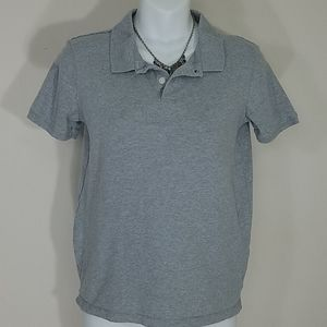 Polo shirt collared Gray stretch short sleeve
